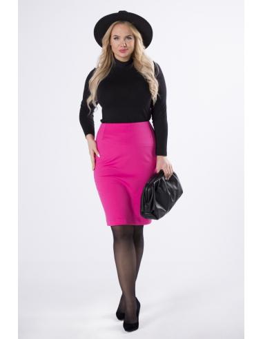 Różowa ołówkowa spódnica
