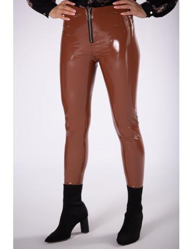 Spodnie lateksowe ciemny brąz