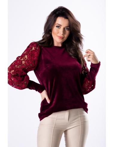 Bordowa elegancka bluzka z koronkowym rękawem