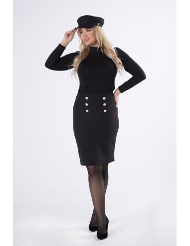 Spódnica czarna z ozdobnymi guzikami.