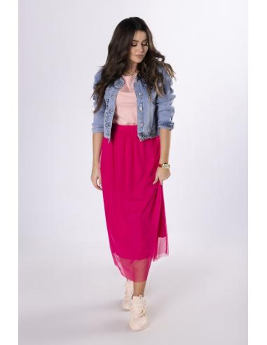 Różowa spódnica maxi z tiulu