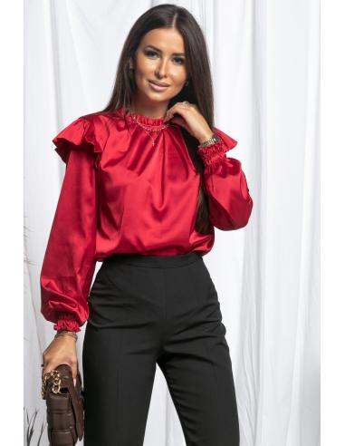 Satynowa bluzka z falbankami RED