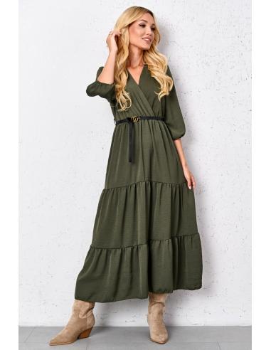 Długa gładka sukienka z falbanami i paskiem Green Ellen
