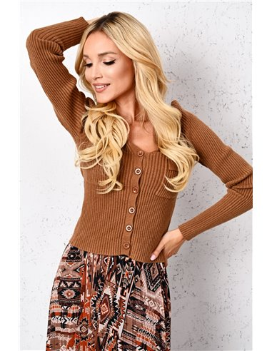 Sweter prążkowany z kieszeniami Brown