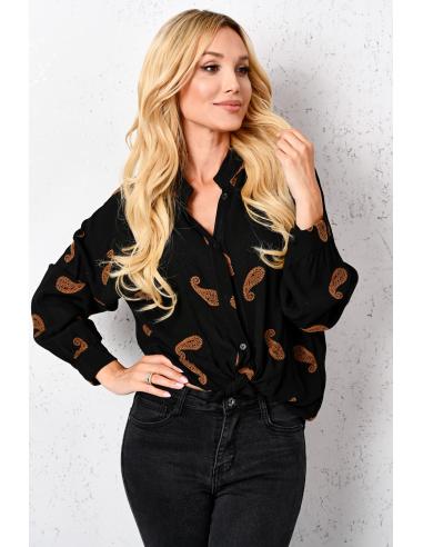 Koszula  w haftowane wzory  z wiskozy BLACK