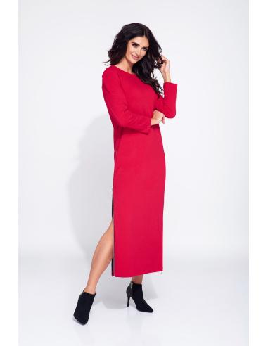 Czerwona sukienka dzienna na jesień z długimi rozporkami