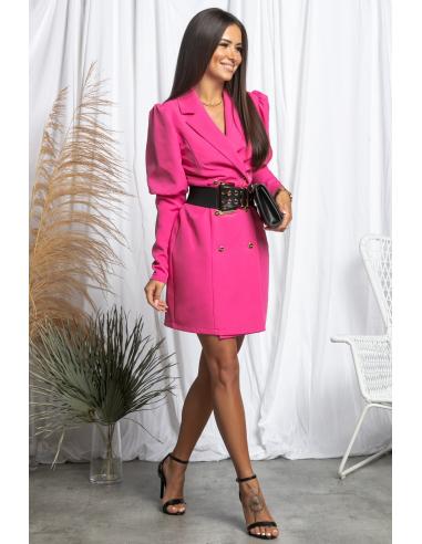 Sukienka dwurzędowe z bufkami Pink