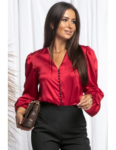 Satynowa bluzka z bufkami na guziki RED