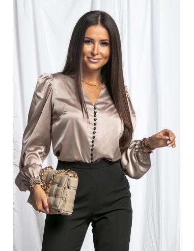 Beżowa satynowa bluzka na guziki z bufkami  OLGA