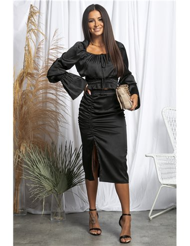Czarna satynowa spódnica z rozporkiem i ściągaczem z przodu BLACK