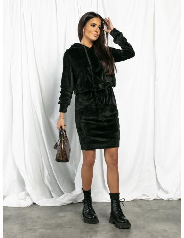 Sukienka welurowa z kapturem czarna